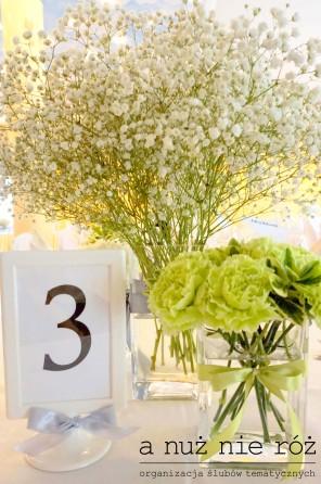limonkowy ślub limonkowe wesele numeracja stolików
