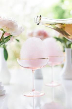 szampan z watą cukrową ślub i wesele