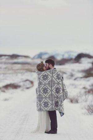 Inspiracje na zimowy ślub sesja plenerowa