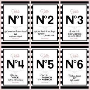 Chanel numery stołów Paryż motyw przewodni ślubu motyw wesela 1