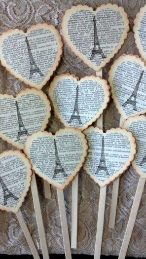 ciastka toppery słodki stół Paryż motyw przewodni ślubu motyw wesela 1
