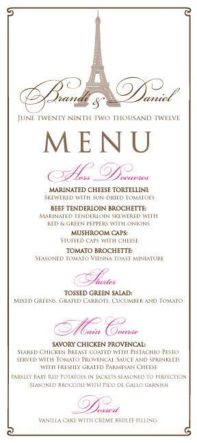 menu Paryż motyw przewodni ślubu motyw wesela 1