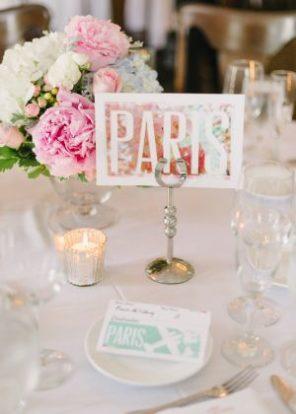 numeracja stołów Paryż motyw przewodni ślubu motyw wesela 1