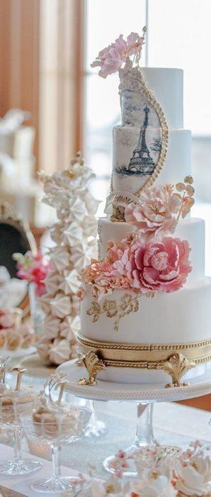 tort weselny tort ślubn Paryż wieża Eiffla 2