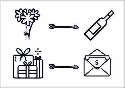 rebus rysunkowy obrazkowy nazaproszenia zamiast prezentów zamiast kwiatów